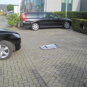 Automatisch omklapbare parkeerbeugel RVS