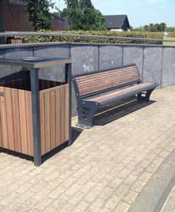 Afvalbak combi hout/staal