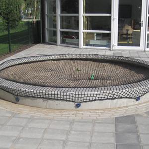 zandbak rond beton met zandbaknet
