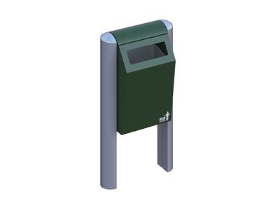 Afvalbak BIN 50 liter groen met aluminium staanders