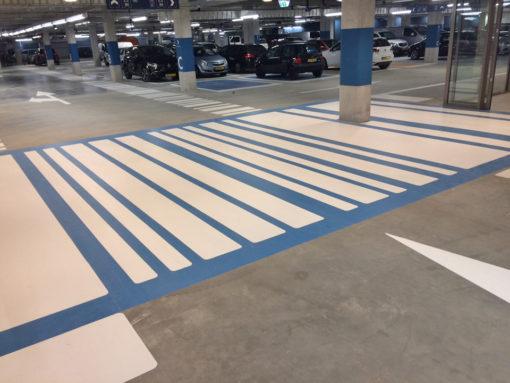 Wegmarkeringen zebra blauw