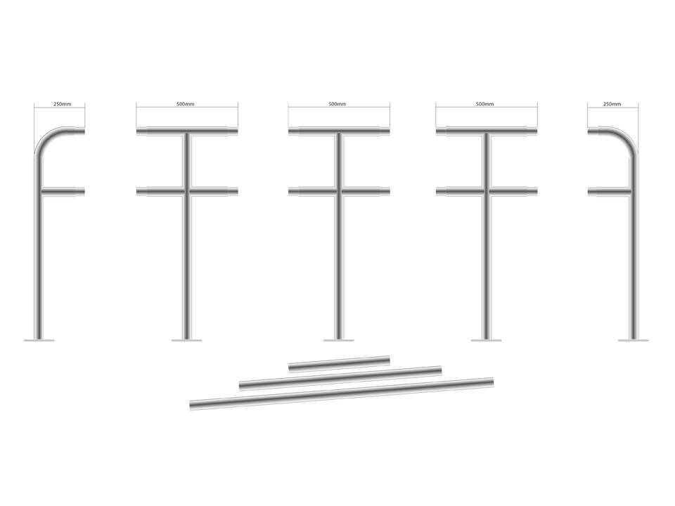 tekening fietsaanleunbeugels koppelsysteem