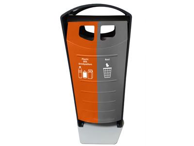Afvalbak BIN-solumn met 2 binnenbakken voor afvalscheiding